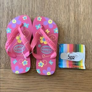 Havaianas, pink floral,23-24, wide strap, kids,new